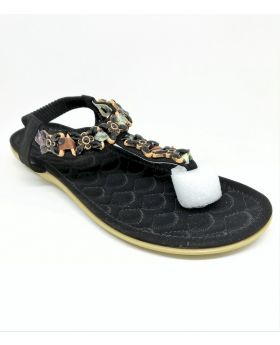 Stylish Black Artificial Leather Flat Sandal for Women