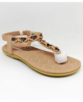 Stylish Pinkish-Brown Artificial Leather Flat Sandal for Women