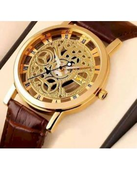 WRM10 - PU Leather Wrist Watch For Men - Brown