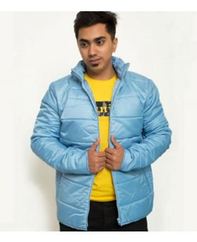Sky Blue Polyester Poly Filler Bomber Jacket (For Men)