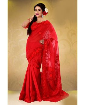 Pure muslin silk with hand embroidery Saree for Women