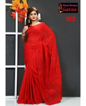 Beautiful Desingned Pure Red Muslin Silk with Hand Ambroidery Cut Work Applique Sharee for Women