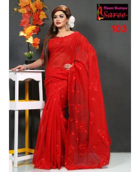 Printed Pure Red Muslin Silk with Hand Ambroidery Cut Work Applique Sharee for Women