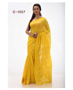 Tangail Silk Saree for Women-Yellow