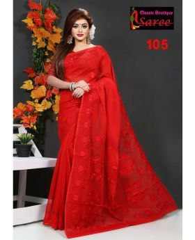 Festival Special Pure Red Muslin Silk with Hand Ambroidery Cut Work Applique Sharee for Women