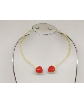MATTE GOLD HASHULI WITH REAL RED STONE WORK