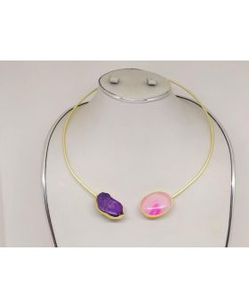 MATTE GOLD HASHULI WITH REAL PURPLE & PINK STONE WORK