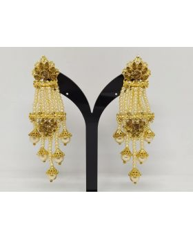 JOYPURI EARRING WITH GOLDEN STONE PEARL AND LONG LENGTH