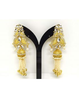 JOYPURI EARRING WITH WHITE KUNDON STONE PEARL WORK LONG LENGTH_2