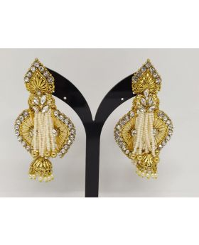 JOYPURI EARRING WITH WHITE STONE & KUNDON STONE PEARL WORK
