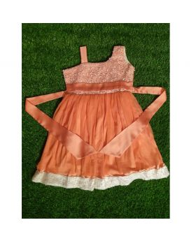 Girls orange color party frock