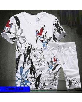 Mens Printed Half Sleeve T-Shirt With Shorts