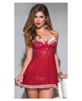 Acrylic + Spandex Red Lace and Mesh Babydoll With Matching G-String