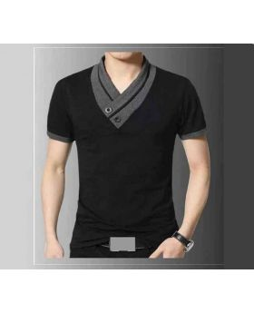 Mens Black Color Cotton T-Shirt