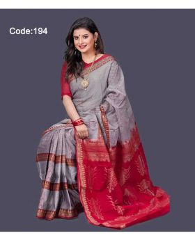 Maslice Cotton Saree for Women (Ash-Red)