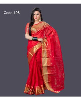 Cotton Baluchuri Saree for Women (Red-Golden)