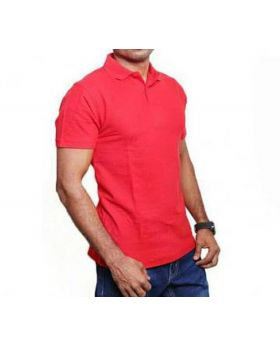 Mens Red Cotton Polo Shirt