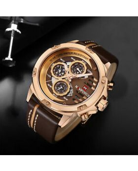 NAVIFORCE 9110 Top Brand Luxury 24 hour Date, Week Display Sports Quartz Military Wristwatch - Gold Brown