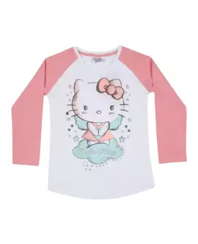 Pink and White Long Sleeve Cotton T-shirt For Boys