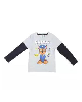 Light Gray and Black Cotton Long Sleeve T-shirt For Boys