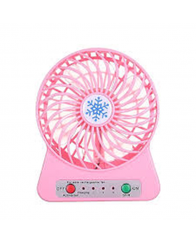 Portable Mini Adjustment Rechargeable Fan - White and Pink