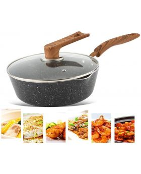 "Black Cooking Home Nonstick Marble Coating 12""/26cm Saute Fry Pan"