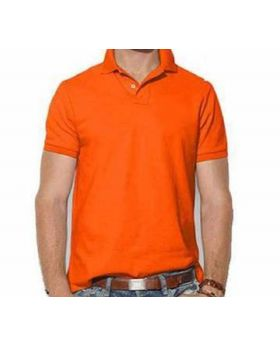 Mens Orange Cotton Polo Shirt