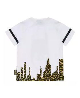 White Cotton Short Sleeve T-shirt For Boys