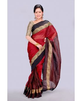 Maslice Cotton Saree-Black & Red