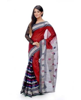Maslice Cotton Saree-Merun+Multi