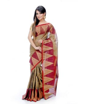 Maslice Cotton Saree-Golden+Merun