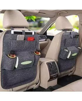 Backseat Car Organizer and Kick Mat - Grey