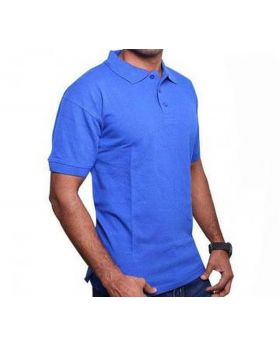 Mens Blue Cotton Polo Shirt