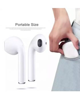 HBQ I7S Double Dual Mini Wireless 4.1 Bluetooth Earphone With Power Case - White