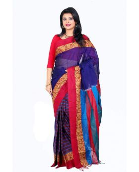 Maslice Cotton Saree-Blue+Multi