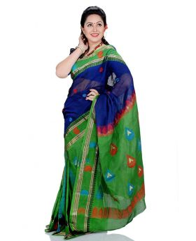 Maslice Cotton Saree-Green+Blue