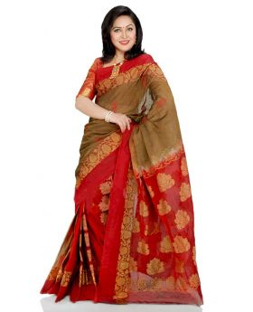 Maslice Cotton Saree-Red+Multi