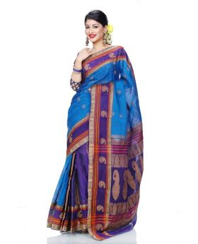 Maslice Cotton Saree-Blue+Multi color