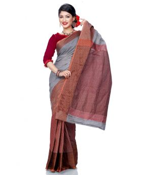 Maslice Cotton Saree-Ash+Multi