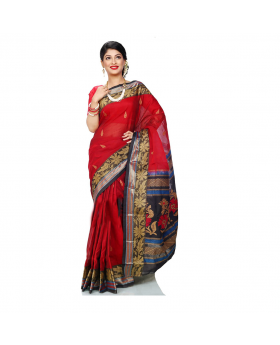 Maslice Cotton Saree-Red & Black
