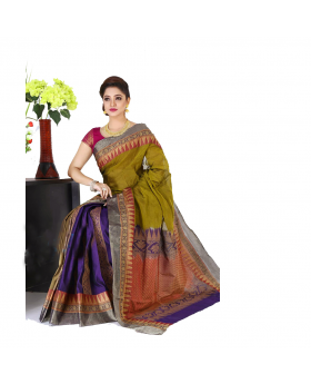 Maslice Cotton Saree-Olive+Multi