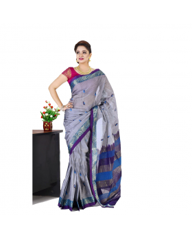 Maslice Cotton Saree-Ash+Blue color