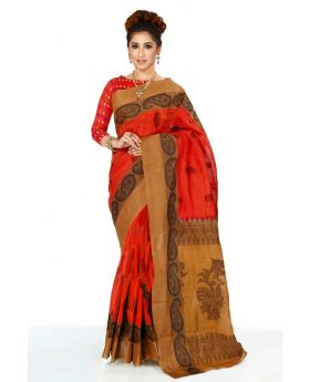 Maslice Cotton Saree-Red+Multi color