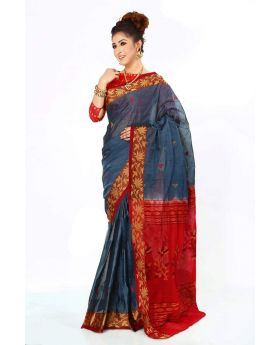Ash &Red Maslice Cotton Saree