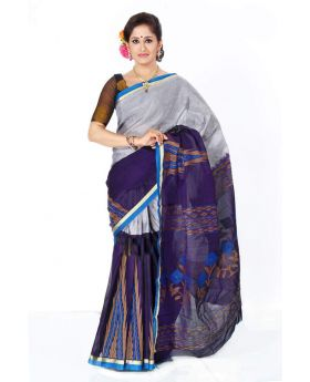 Maslice Cotton Saree-blue+Ash