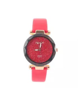 Synthetic Leather Analog Watch for Women - Red