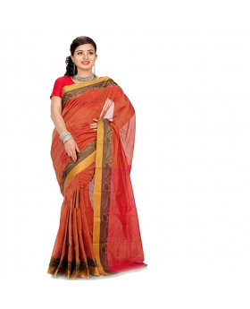 Red Maslice Cotton Saree