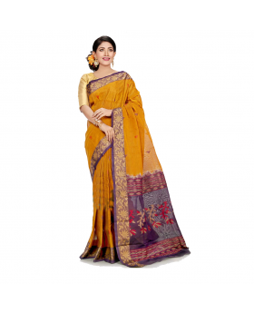 Maslice Cotton Saree-Yellow+Multi