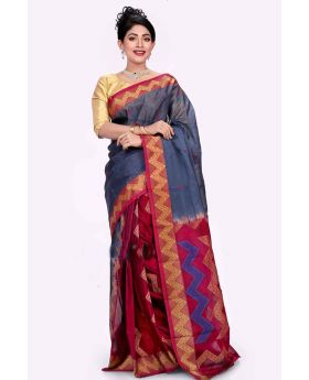 Ash+Multi Maslice Cotton Saree