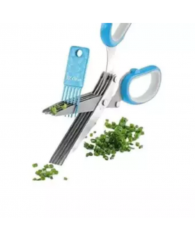 5 Blade Kitchen Scissors With Cleaner - Blue and Silver